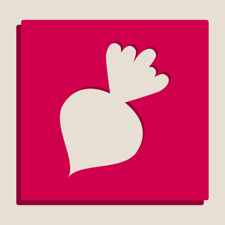 Beet simple sign. Vector. Grayscale version of Popart-style icon.