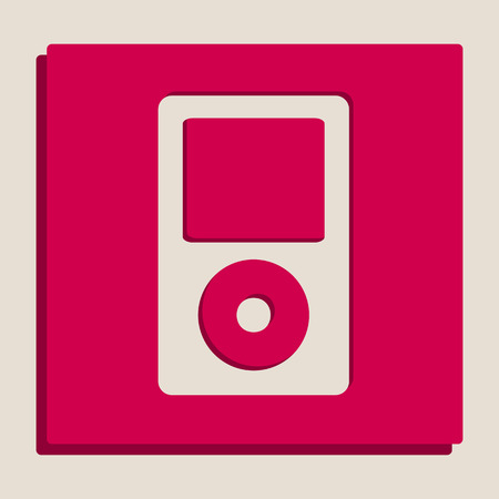 Portable music device. Vector. Grayscale version of Popart-style icon.