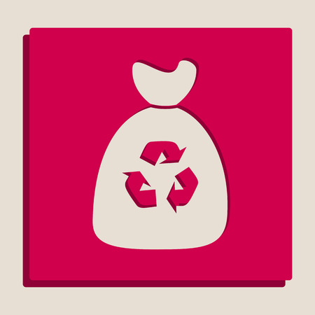 Trash bag icon. Vector. Grayscale version of Popart-style icon. Illustration