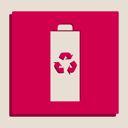 Battery recycle sign illustration. Vector. Grayscale version of Popart-style icon. Illustration