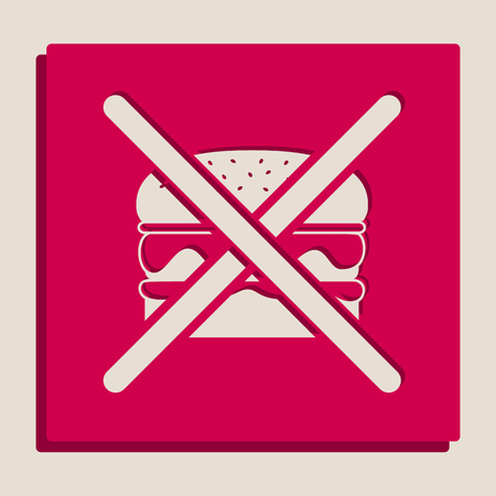 No burger sign. Vector. Grayscale version of Popart-style icon.
