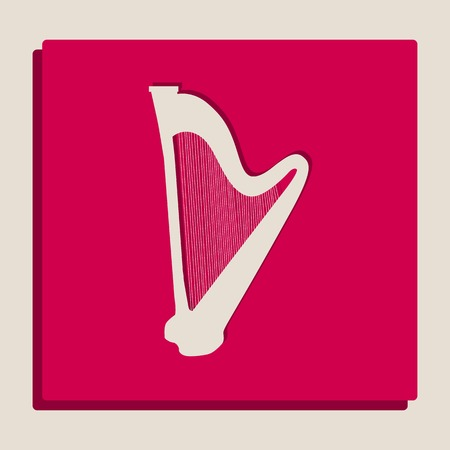 Musical instrument harp sign. Vector. Grayscale version of Popart-style icon.