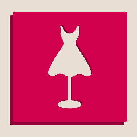 Mannequin with dress sign. Vector. Grayscale version of Popart-style icon. Illustration