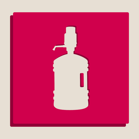 Plastic bottle silhouette with water and siphon. Vector. Grayscale version of Popart-style icon.