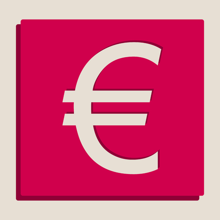 Euro sign. Vector. Grayscale version of Popart-style icon.
