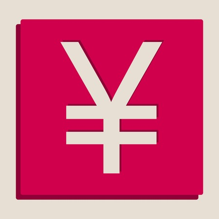 Yen sign. Vector. Grayscale version of Popart-style icon. Illustration