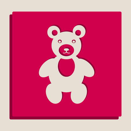 Teddy bear sign illustration. Vector. Grayscale version of Popart-style icon.
