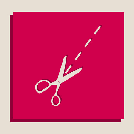 Scissors sign illustration. Vector. Grayscale version of Popart-style icon. Illustration