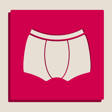 Mans underwear sign. Vector. Grayscale version of Popart-style icon.