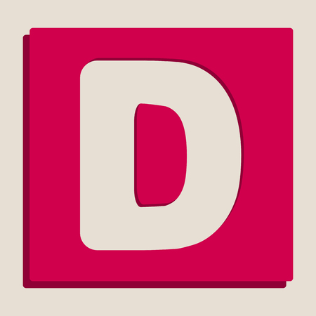Letter D sign design template element. Vector. Grayscale version of Popart-style icon.