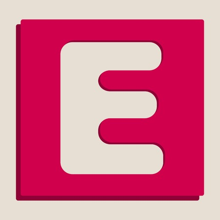 typescript: Letter E sign design template element. Vector. Grayscale version of Popart-style icon.