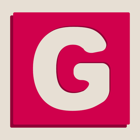 Letter G sign design template element. Vector. Grayscale version of Popart-style icon.