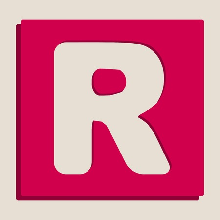 typescript: Letter R sign design template element. Vector. Grayscale version of Popart-style icon.