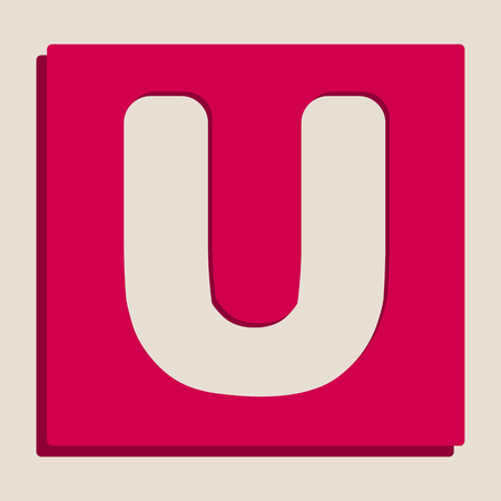 Letter U sign design template element. Vector. Grayscale version of Popart-style icon.