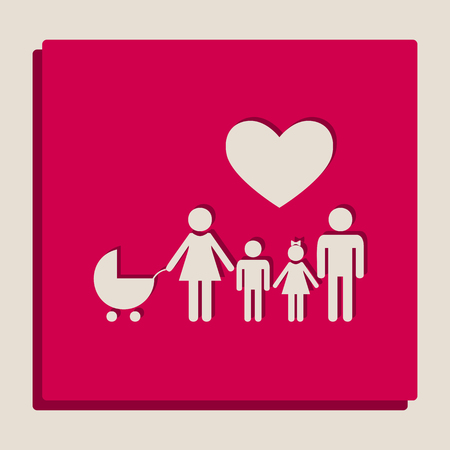 Family sign with heart. Husband and wife are kept childrens hands. Vector. Grayscale version of Popart-style icon.