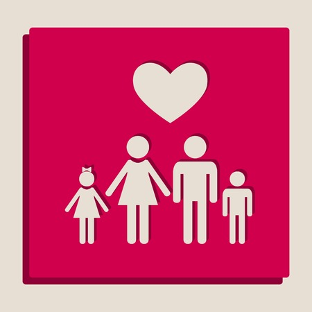 Family symbol with heart. Husband and wife are kept childrens hands. Love. Vector. Grayscale version of Popart-style icon. Illustration