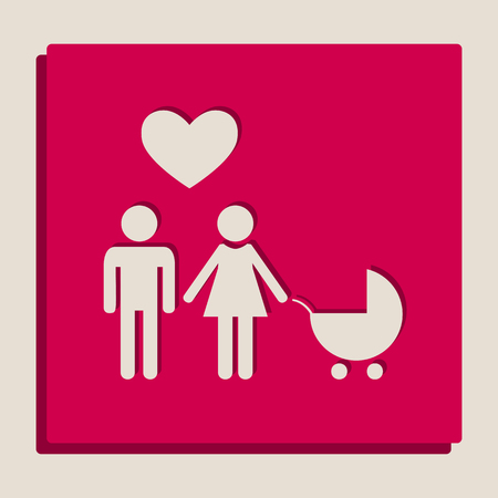 Family symbol with pram and heart. Husband and wife are kept each others hands. Love. Vector. Grayscale version of Popart-style icon. Illustration