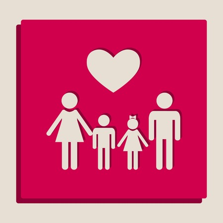 Family symbol with heart. Husband and wife are kept childrens hands. Vector. Grayscale version of Popart-style icon.