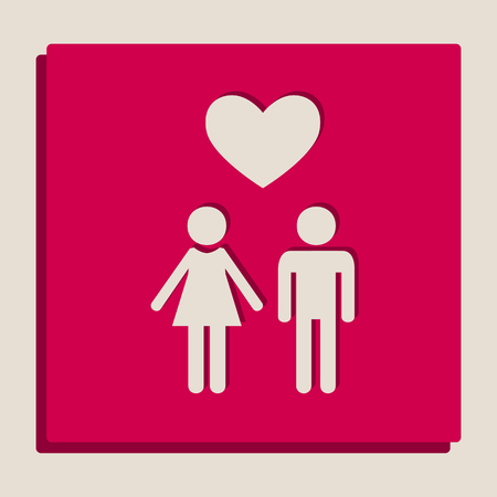 Family symbol with heart. Husband and wife are kept each others hands. Love. Vector. Grayscale version of Popart-style icon.