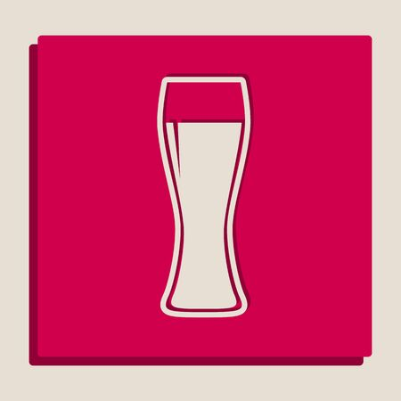 Beer glass sign. Vector. Grayscale version of Popart-style icon.