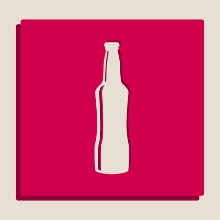 Beer bottle sign. Vector. Grayscale version of Popart-style icon. Illustration