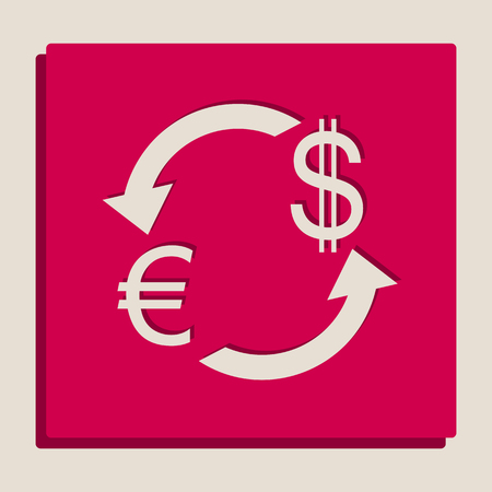 yen: Currency exchange sign. Euro and Dollar. Vector. Grayscale version of Popart-style icon.
