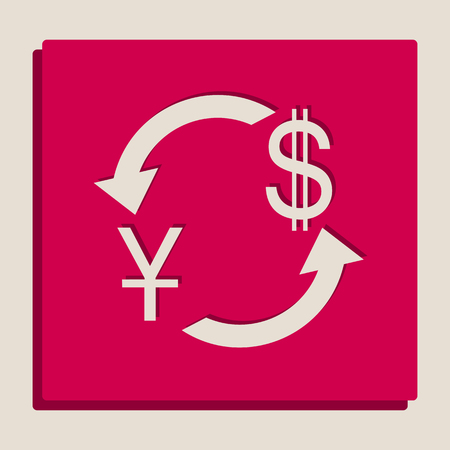 yuan: Currency exchange sign. China Yuan and US Dollar. Vector. Grayscale version of Popart-style icon.