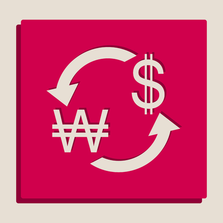Currency exchange sign. South Korea Won and US Dollar. Vector. Grayscale version of Popart-style icon.