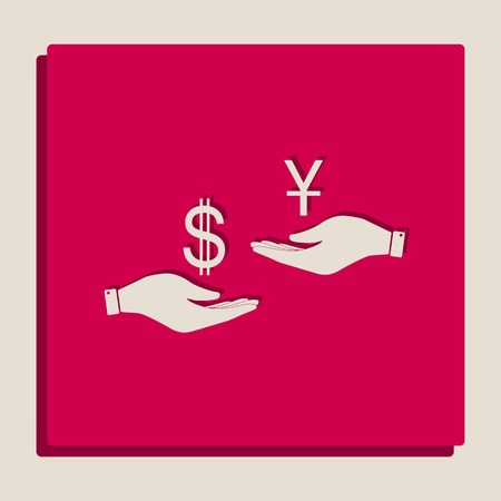 Currency exchange from hand to hand. Dollar and Yuan. Vector. Grayscale version of Popart-style icon.