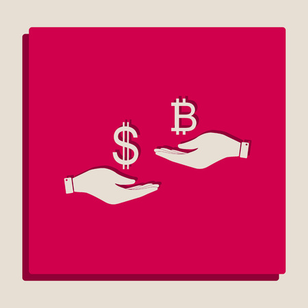 Currency exchange from hand to hand. Dollar and Bitcoin. Vector. Grayscale version of Popart-style icon.