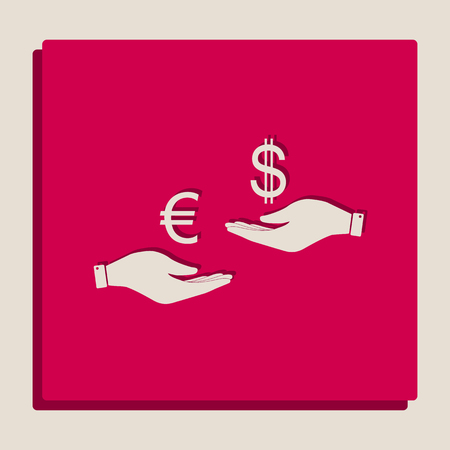 Currency exchange from hand to hand. Euro and Dollar. Vector. Grayscale version of Popart-style icon. 일러스트