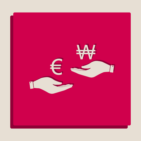 Currency exchange from hand to hand. Euro and Won. Vector. Grayscale version of Popart-style icon.