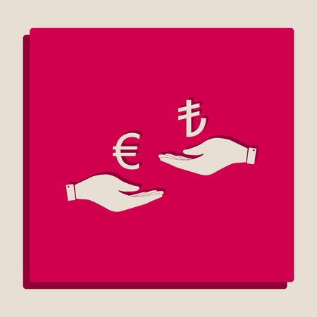 Currency exchange from hand to hand. Euro and Lira. Vector. Grayscale version of Popart-style icon.