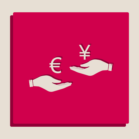 Currency exchange from hand to hand. Euro and Yen. Vector. Grayscale version of Popart-style icon.