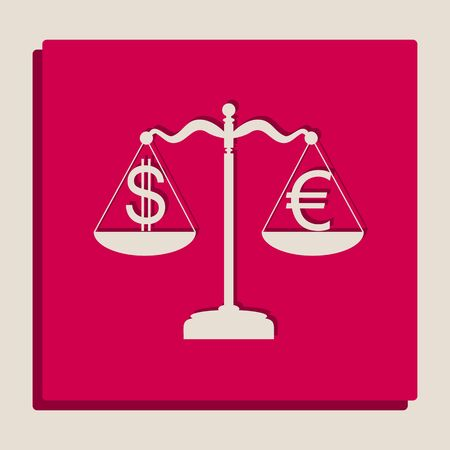 Justice scales with currency exchange sign. Vector. Grayscale version of Popart-style icon. Ilustração Vetorial