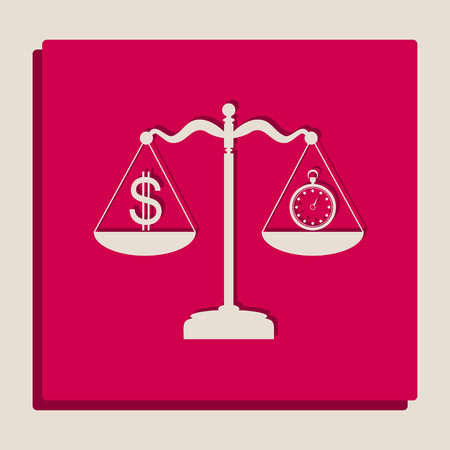 justice scale: Stopwatch and dollar symbol on scales. Vector. Grayscale version of Popart-style icon. Illustration