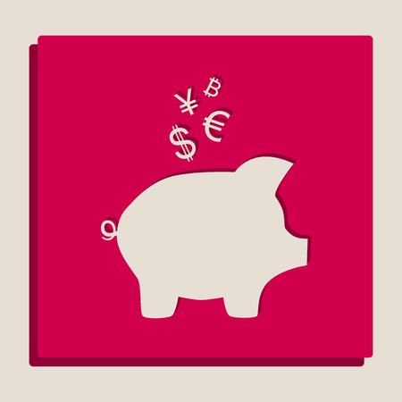 Piggy bank sign with the currencies. Vector. Grayscale version of Popart-style icon.