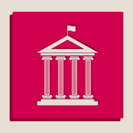roman column: Historical building with flag. Vector. Grayscale version of Popart-style icon.