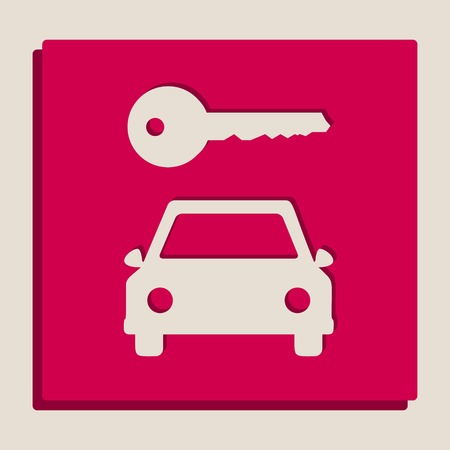 rent index: Car key simplistic sign. Vector. Grayscale version of Popart-style icon. Illustration