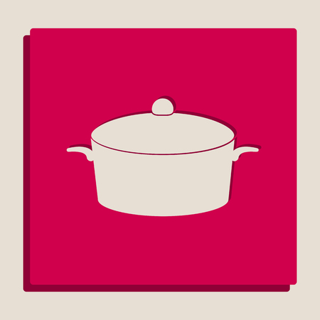 casserole: Pan sign. Vector. Grayscale version of Popart-style icon.
