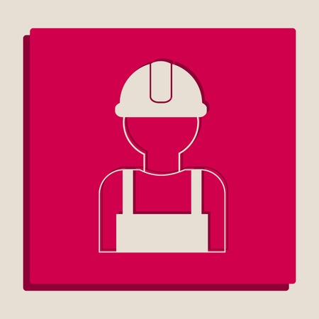 Worker sign. Vector. Grayscale version of Popart-style icon. Illustration
