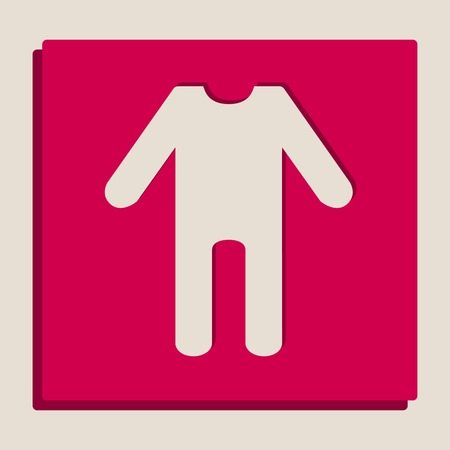 baby clothes sign. Vector. Grayscale version of Popart-style icon.
