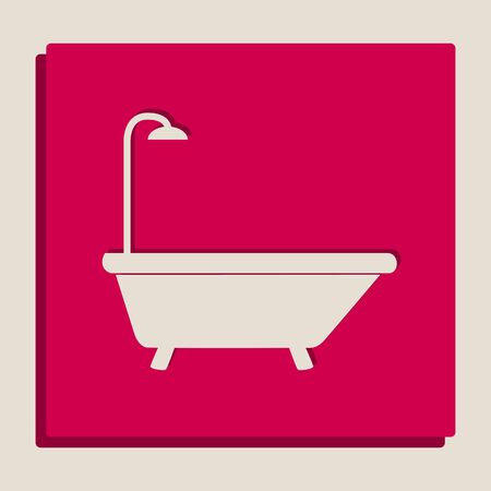 Bathtub sign. Vector. Grayscale version of Popart-style icon.
