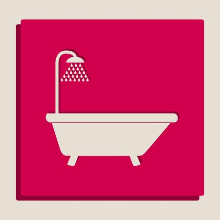 version: Bathtub sign. Vector. Grayscale version of Popart-style icon.
