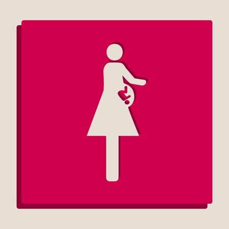 symbolize: Women and baby sign. Vector. Grayscale version of Popart-style icon.