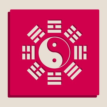 taijitu: Yin and yang sign with bagua arrangement. Vector. Grayscale version of Popart-style icon.
