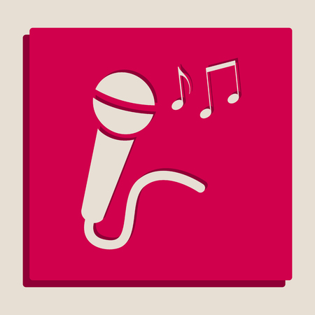 Microphone sign with music notes. Vector. Grayscale version of Popart-style icon. Illustration