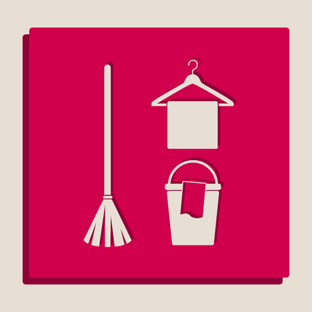 pail: Broom, bucket and hanger sign. Vector. Grayscale version of Popart-style icon. Illustration