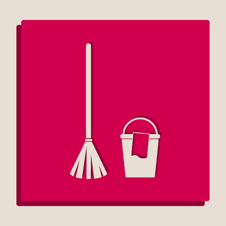 version: Broom and bucket sign. Vector. Grayscale version of Popart-style icon.