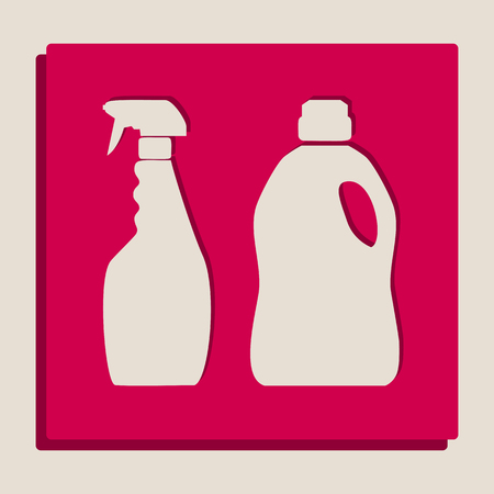 version: Household chemical bottles sign. Vector. Grayscale version of Popart-style icon. Illustration